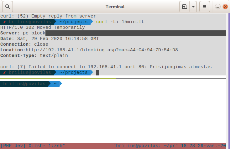 Blocked wifi for home office PHP developer without a warning.